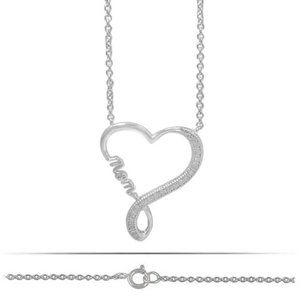 Necklace Pendant Sterling Silver 925-CZ Heart Mom